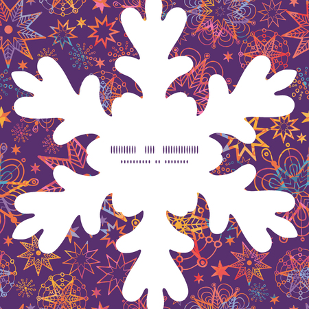 Vector textured christmas stars Christmas snowflake silhouette pattern frame card template