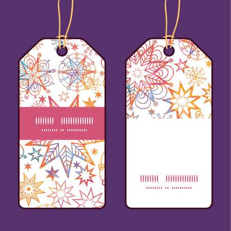 Vector textured christmas stars vertical stripe frame pattern tags set