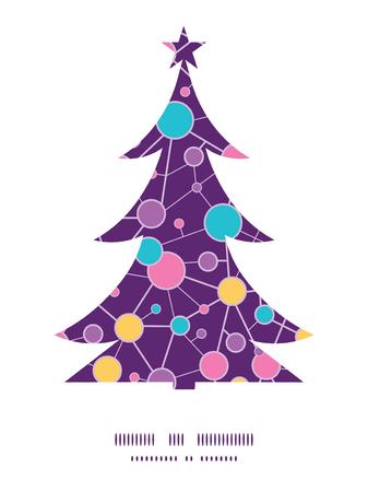 vector  molecular: Vector molecular structure Christmas tree silhouette pattern frame card template