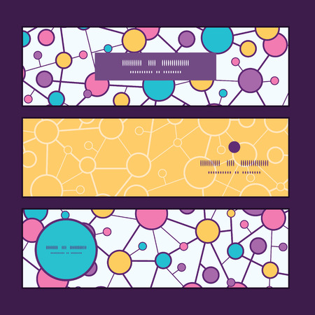 vector  molecular: Vector molecular structure horizontal banners set pattern background