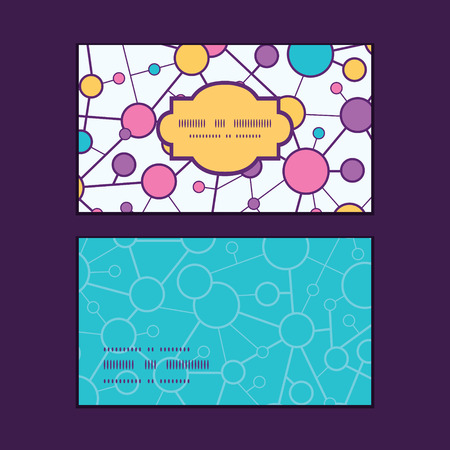 vector  molecular: Vector molecular structure horizontal frame pattern business cards set