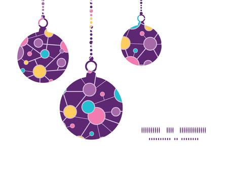 vector  molecular: Vector molecular structure Christmas ornaments silhouettes pattern frame card template