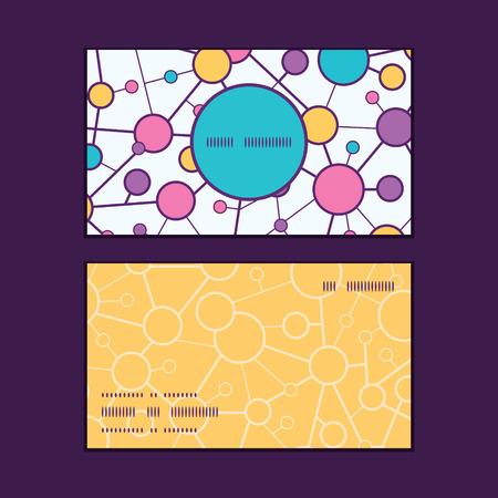 vector  molecular: Vector molecular structure vertical round frame pattern business cards set