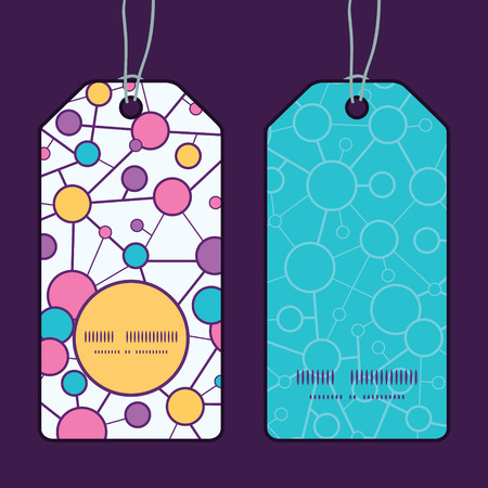 Vector molecular structure vertical round frame pattern tags set