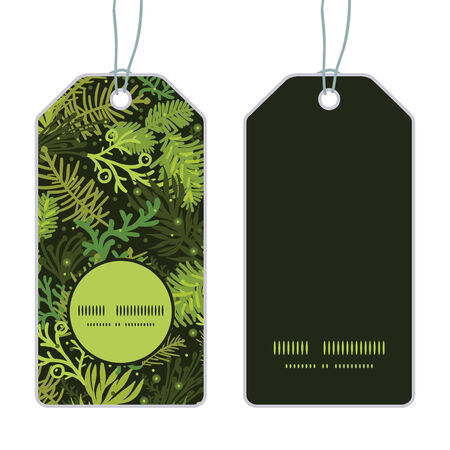 Vector evergreen christmas tree vertical round frame pattern tags set
