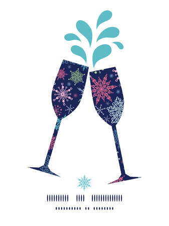 toasting wine: Vector snowflakes on night sky toasting wine glasses silhouettes pattern frame Illustration