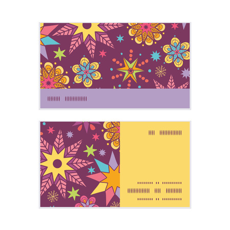 election night: Vector colorful stars horizontal stripe frame pattern business cards set Illustration