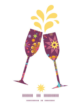 toasting wine: Vector colorful stars toasting wine glasses silhouettes pattern frame