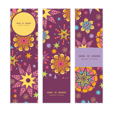 election night: Vector colorful stars vertical banners set pattern background Illustration