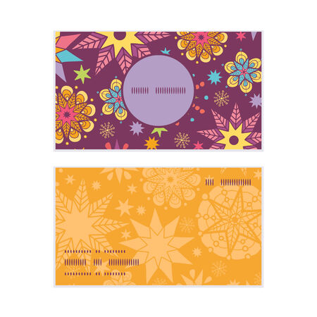 election night: Vector colorful stars vertical round frame pattern business cards set