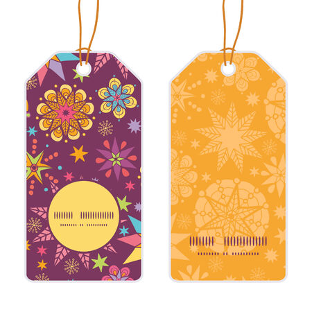 election night: Vector colorful stars vertical round frame pattern tags set