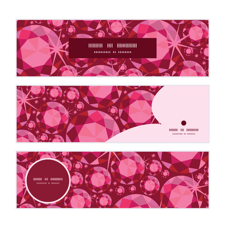 ruby: Vector ruby horizontal banners set pattern background