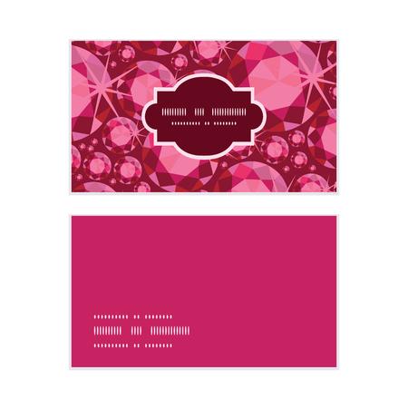 Vector ruby horizontal frame pattern business cards set Illustration