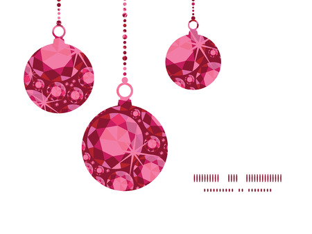 ruby: Vector ruby Christmas ornaments silhouettes pattern frame card template Illustration