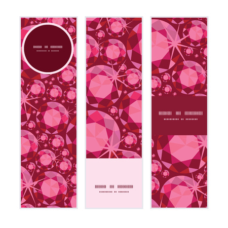 Vector ruby vertical banners set pattern background