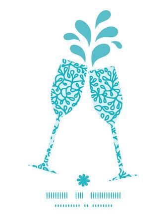 Vector abstract onderwater planten roosteren wijnglazen silhouetten patroonframe Stock Illustratie