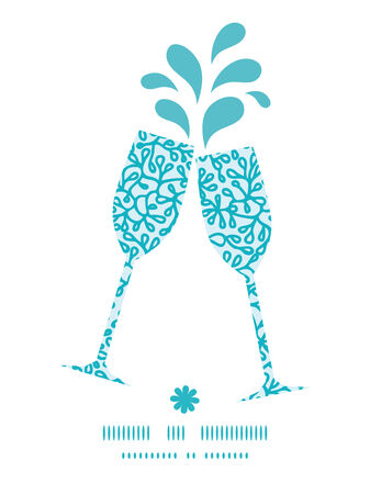 Vector abstract underwater plants toasting wine glasses silhouettes pattern frame Çizim