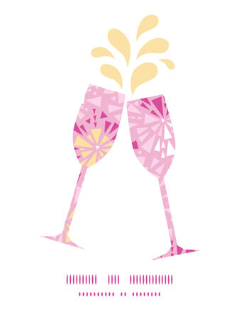 toasting wine: Vector pink abstract triangles toasting wine glasses silhouettes pattern frame