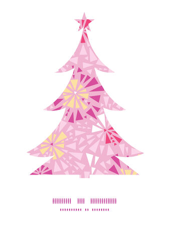 Vector pink abstract triangles Christmas tree silhouette pattern frame card template graphic design Illustration