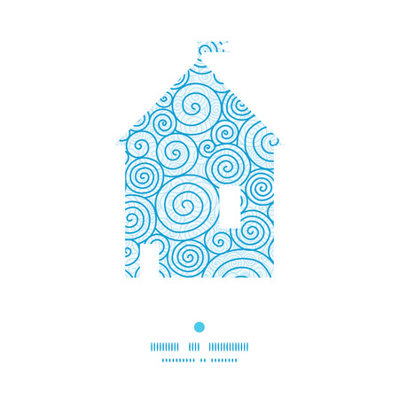 Vector abstract swirls house silhouette pattern frame Çizim