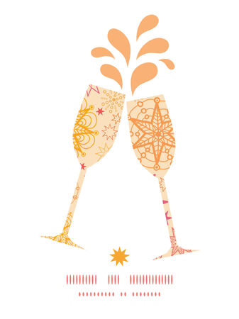 toasting wine: Vector warm stars toasting wine glasses silhouettes pattern frame