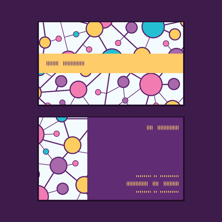 molecular structure: Vector molecular structure horizontal stripe frame pattern business cards set Illustration