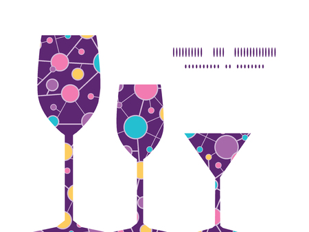 vector  molecular: Vector molecular structure three wine glasses silhouettes pattern frame