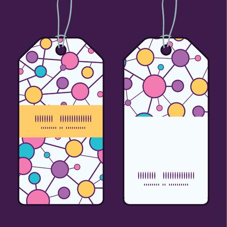 vector  molecular: Vector molecular structure vertical stripe frame pattern tags set