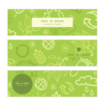 resource conservation: Vector environmental horizontal banners set pattern background Illustration