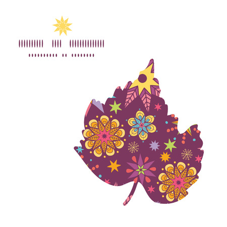 Vector colorful stars leaf silhouette pattern frame Vector
