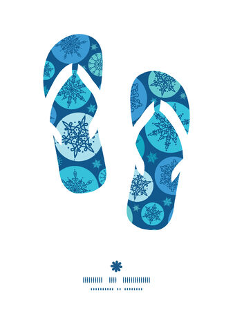 Vector round snowflakes flip flops silhouettes pattern frame