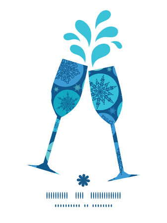 toasting wine: Vector round snowflakes toasting wine glasses silhouettes pattern frame