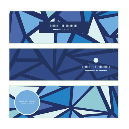 chrystals: Vector abstract ice chrystals horizontal banners set pattern background