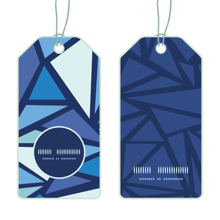 chrystals: Vector abstract ice chrystals vertical round frame pattern tags set Illustration