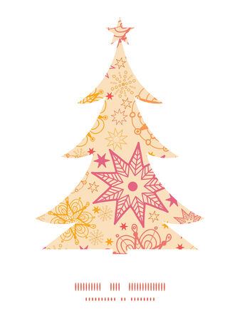 winter tree: Vector warm stars Christmas tree silhouette pattern frame card template