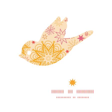 Vector warm stars bird silhouette pattern frame Vector