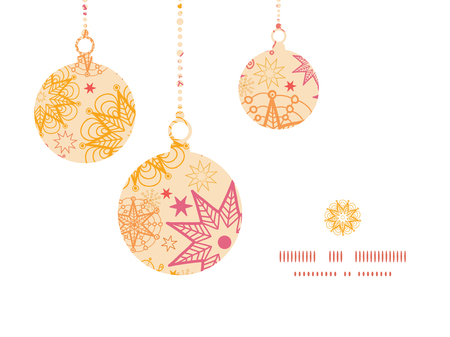 ball chains: Vector warm stars Christmas ornaments silhouettes pattern frame card template