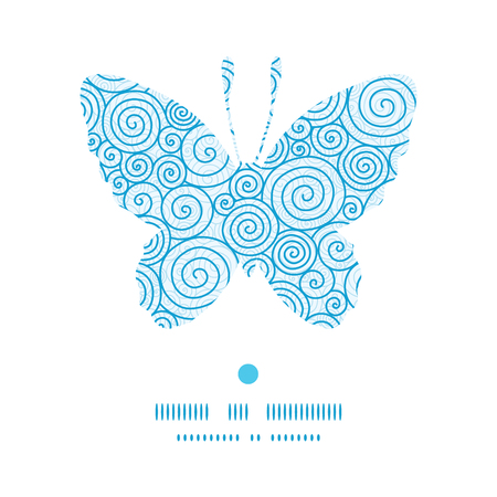 butterfly silhouette: Vector abstract swirls butterfly silhouette pattern frame Illustration
