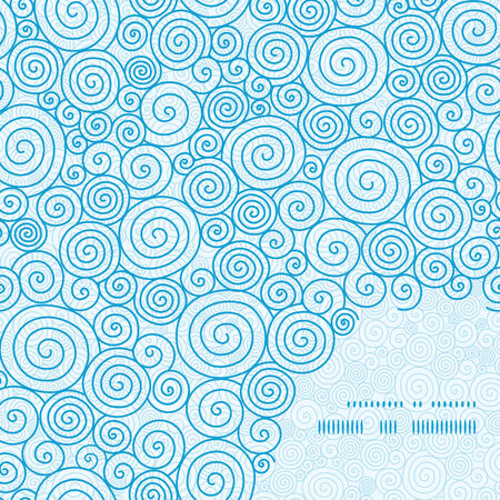 blue ocean: Vector abstract swirls frame corner pattern background Illustration