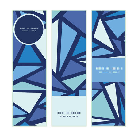 solid color: Vector abstract ice chrystals vertical banners set pattern background Illustration