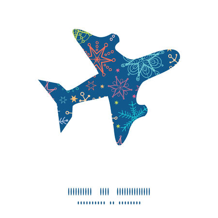 Vector colorful doodle snowflakes airplane silhouette pattern frame Çizim