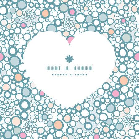romantic: Vector colorful bubbles heart silhouette pattern frame