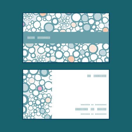 Vector colorful bubbles horizontal stripe frame pattern business cards set Illustration