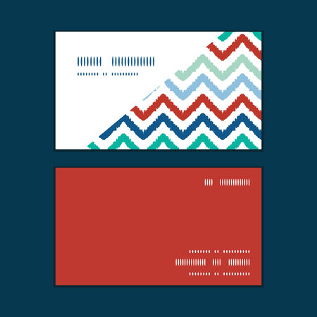 Vector colorful ikat chevron horizontal corner frame pattern business cards set Vettoriali
