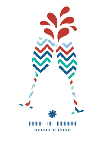 toasting wine: Vector colorful ikat chevron toasting wine glasses silhouettes pattern frame Illustration