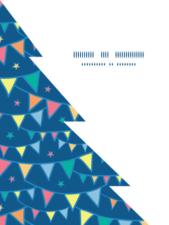 Vector colorful doodle bunting flags Christmas tree silhouette pattern frame card template