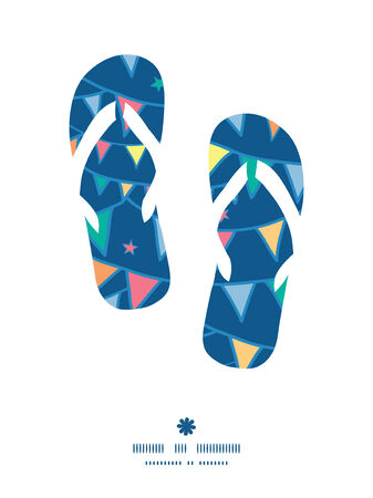 Vector colorful doodle bunting flags flip flops silhouettes pattern frame