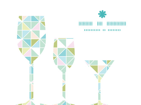 Vector Colorido Pastel Triángulo Textura Tres Copas De Vino