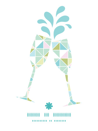 toasting wine: Vector colorful pastel triangle texture toasting wine glasses silhouettes pattern frame