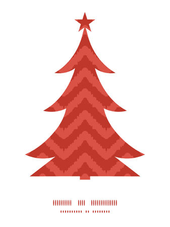Vector colorful ikat chevron Christmas tree silhouette pattern frame card template Vector